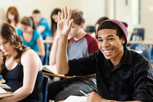 Excited student raising his hand banner on Cart Page of SIMPLE ACT's Website